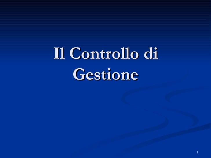 3   il controllo di gestione