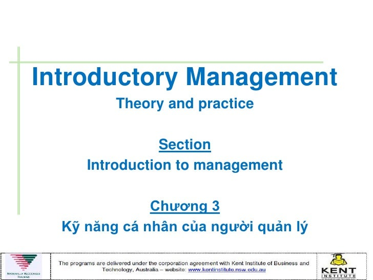 Introductory Management         Theory and practice                Section     Introduction to management              Chƣ...