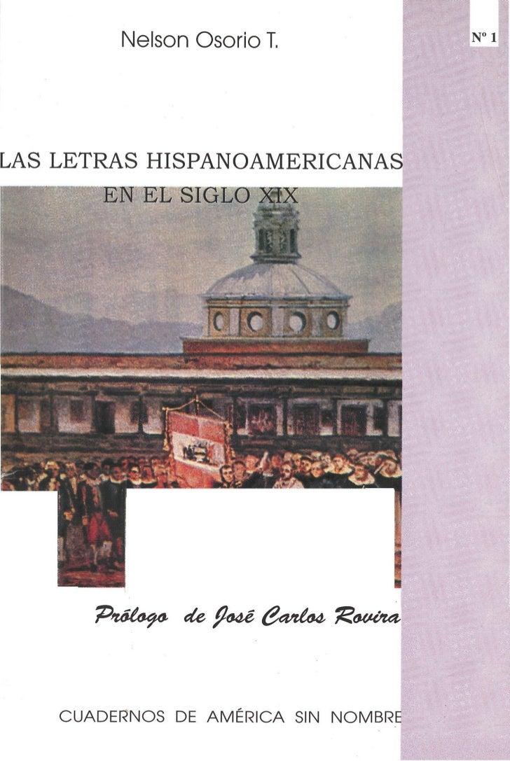 Nelson Osorio T.LAS LETRAS HISPANOAMERICANAS       EN EL SIGLO MX      P>utfay& eU falé &zníte,   bovina,   CUADERNOS DE A...