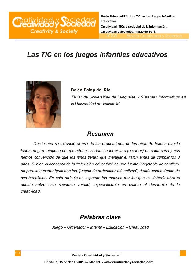 Belén Palop del Río: Las TIC en los Juegos Infantiles Educativos. Creatividad, TICs y sociedad de la información. Creativi...