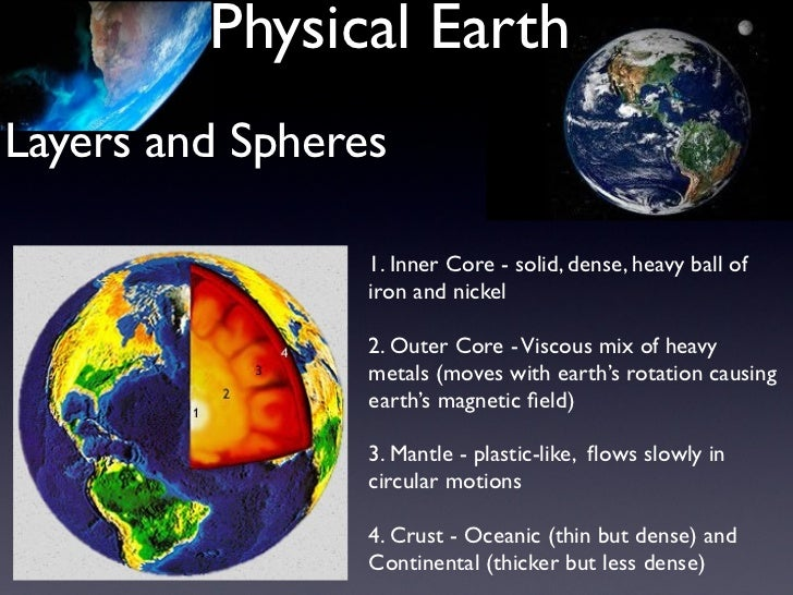 Physical EarthLayers and Spheres                 1. Inner Core - solid, dense, heavy ball of                 iron and nick...