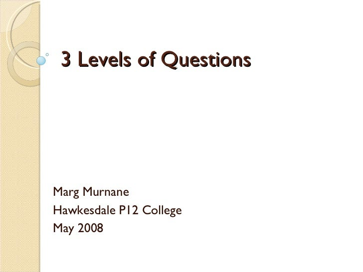 3 Levels of Questions Marg Murnane Hawkesdale P12 College May 2008