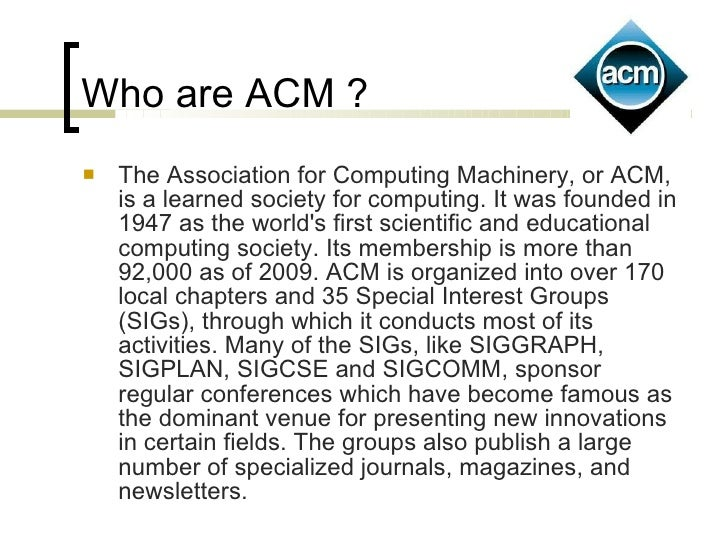 Submitting Articles to ACM Journals  Association for