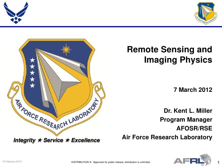Miller - Remote Sensing and Imaging Physics - Spring Review 2012