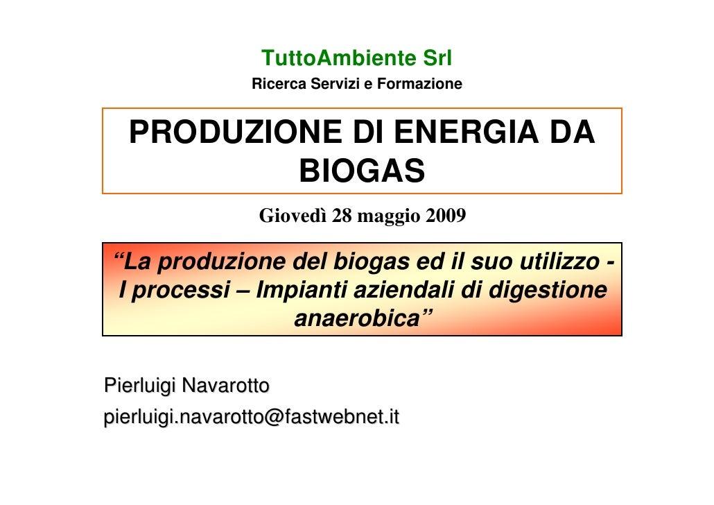 TuttoAmbiente Srl                 Ricerca Servizi e Formazione     PRODUZIONE DI ENERGIA DA           BIOGAS              ...