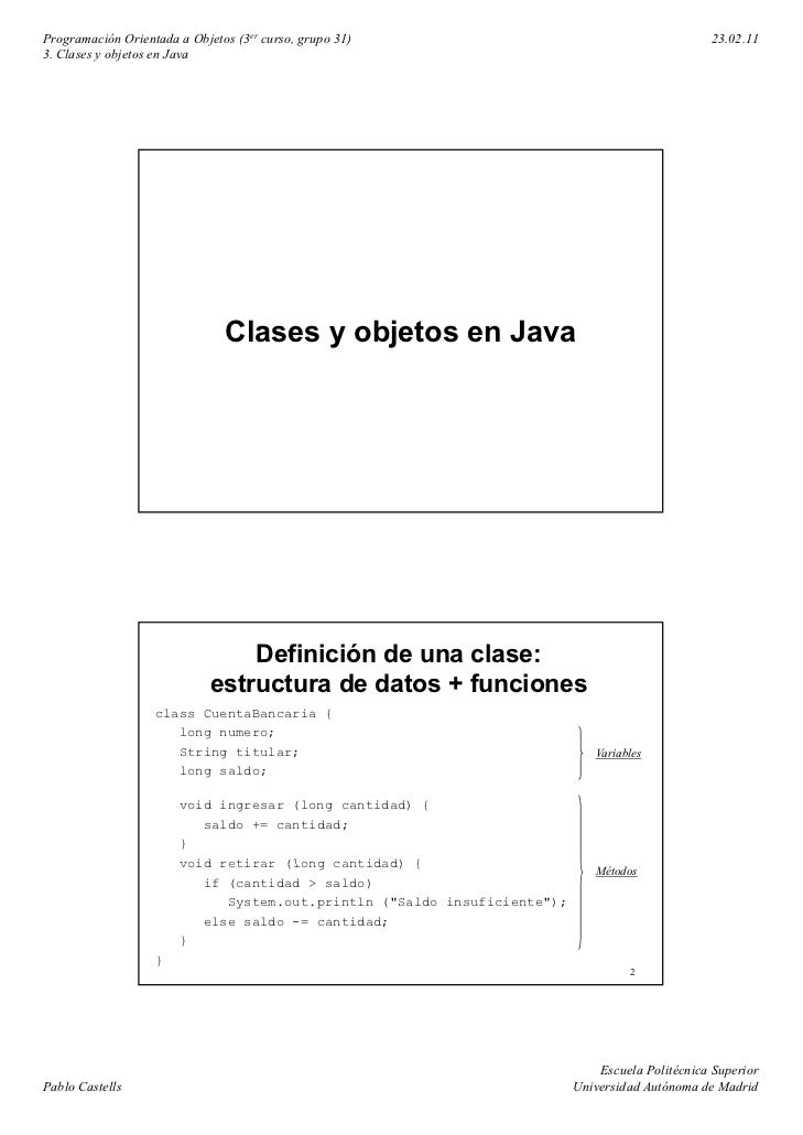 Programación Orientada a Objetos (3er curso, grupo 31)                                           23.02.113. Clases y objet...