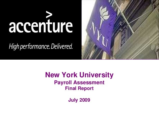 New York University Payroll Assessment Final Report July 2009