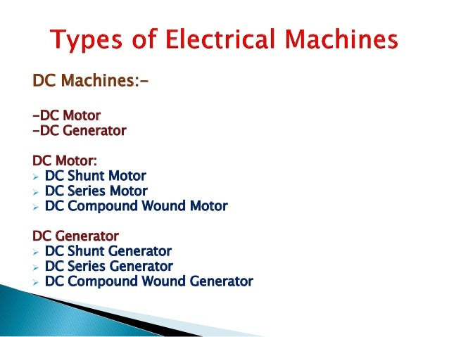 3 ph induction motor ppt for Types of dc motor