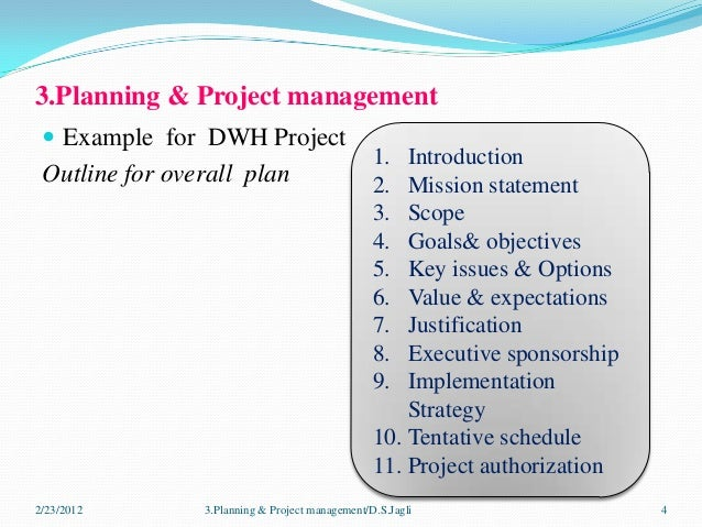 Planning project management for dwh - Project management office mission statement ...