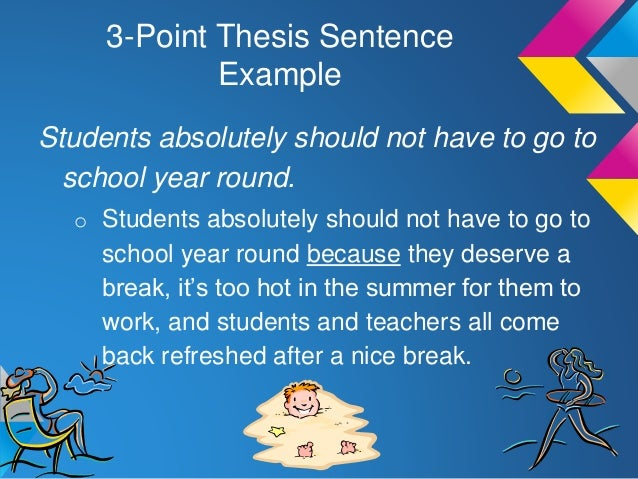 3 point thesis Start studying preparing to write learn vocabulary, terms, and more which thesis statement is an example of a three-point statement people take vacations in which best describes a three-point thesis it includes three claims the author will dispute in the paper what are the.