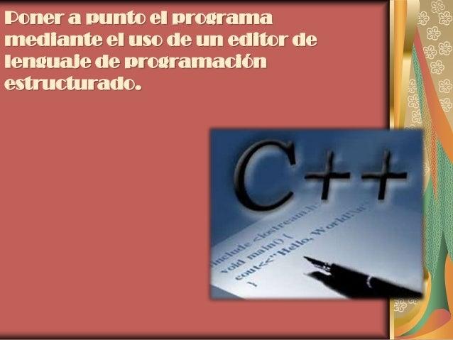 Poner a punto el programamediante el uso de un editor delenguaje de programaciónestructurado.