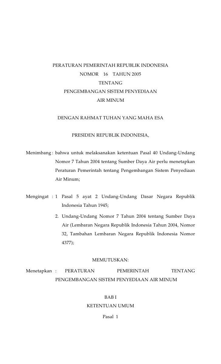 PERATURAN PEMERINTAH REPUBLIK INDONESIA                         NOMOR    16    TAHUN 2005                                 ...