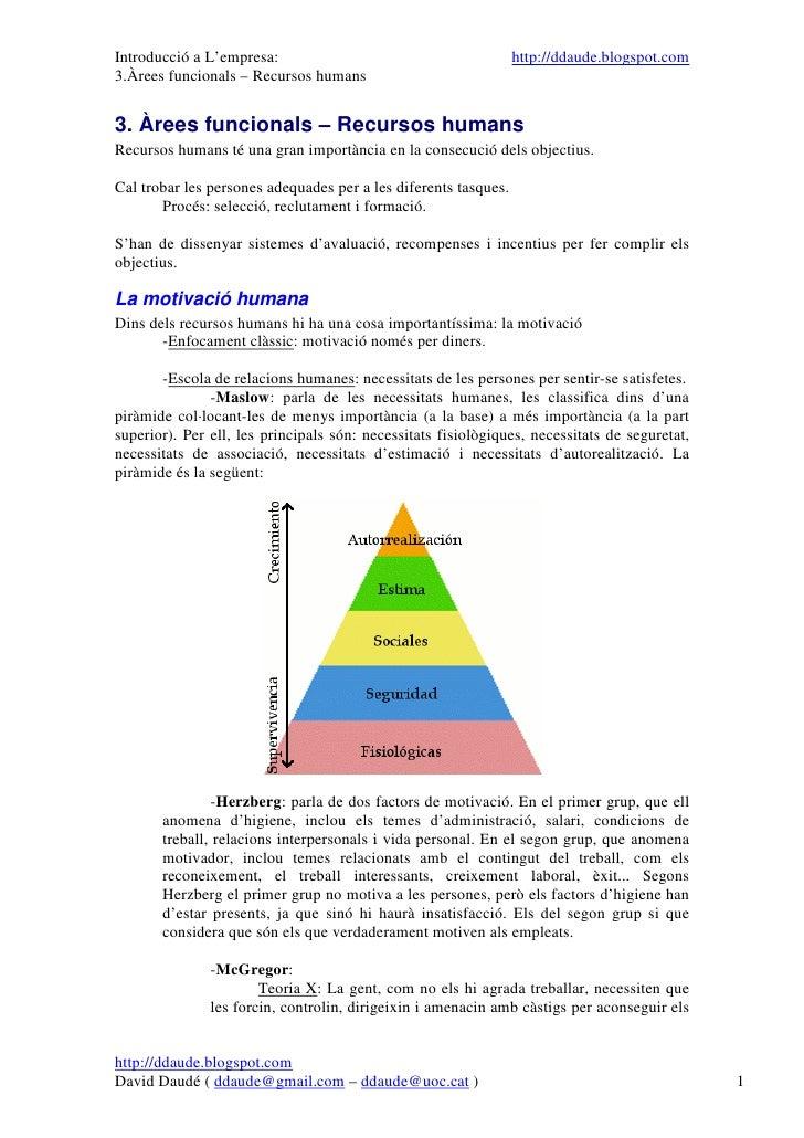 Introducció a L'empresa:                                         http://ddaude.blogspot.com 3.Àrees funcionals – Recursos ...