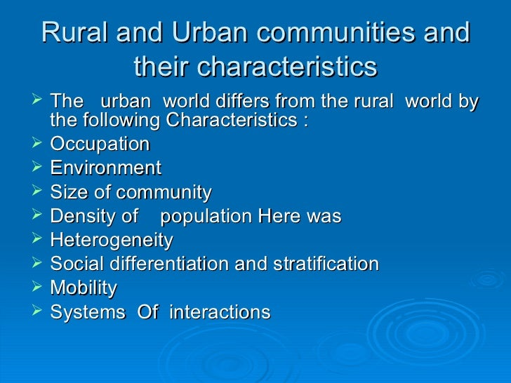 what is rurality and urbanity Indicators characterising the difference between urbanity and rurality the from ams 315 at university of texas.