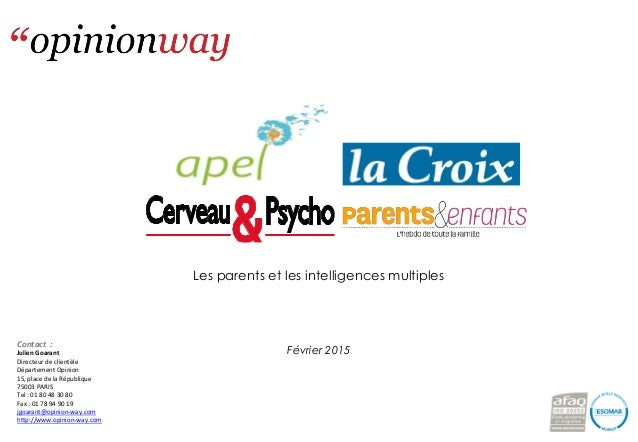 1pour l'APEL / La Croix / Cerveau & Psycho / Parents & Enfants– Les intelligences multiples – Février 2015 Les parents et ...