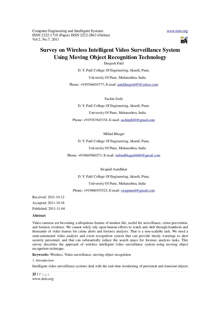 3.survey on wireless intelligent video surveillance system using moving object recognition technology 25-30