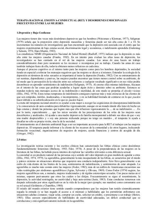 TERAPIA RACIONAL EMOTIVA-CONDUCTUAL (RET) Y DESORDENES EMOCIONALESFRECUENTES ENTRE LAS MUJERES1.Depresión y Baja Confianza...