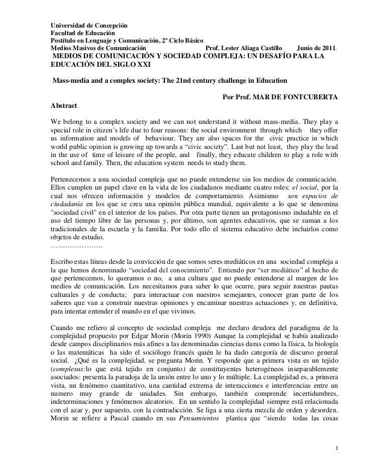 Universidad de ConcepciónFacultad de EducaciónPostítulo en Lenguaje y Comunicación, 2º Ciclo BásicoMedios Masivos de Comun...