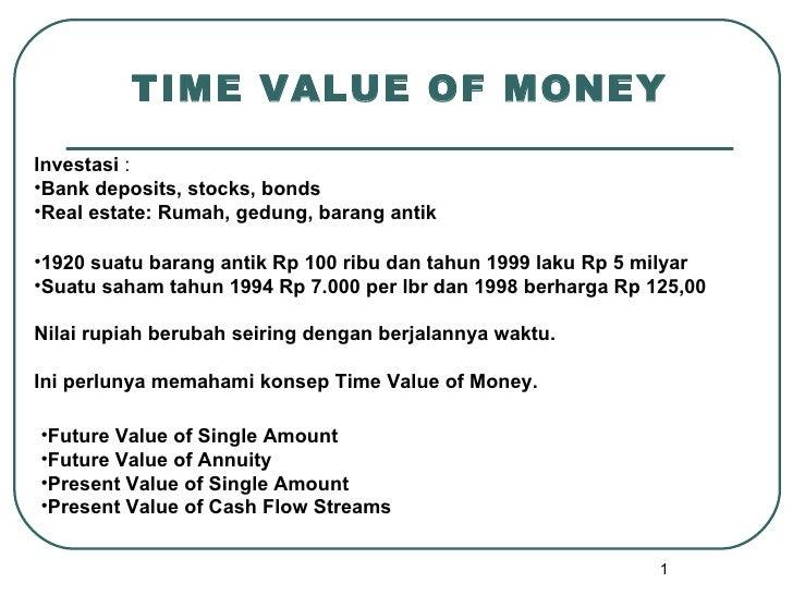 TIME VALUE OF MONEYInvestasi :•Bank deposits, stocks, bonds•Real estate: Rumah, gedung, barang antik•1920 suatu barang ant...