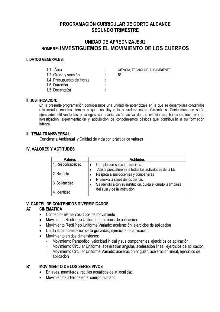 PROGRAMACIÓN CURRICULAR DE CORTO ALCANCE                                SEGUNDO TRIMESTRE                                 ...