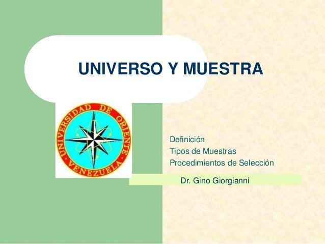 definicion universo muestra: