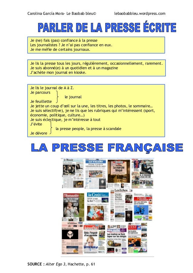 La presse vocabulaire et exercices for Magazine le journal de la maison