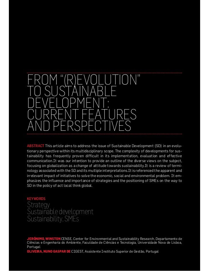 From (R)evolution to Sustainable Development , Jeronimo & Oliveira, 2011