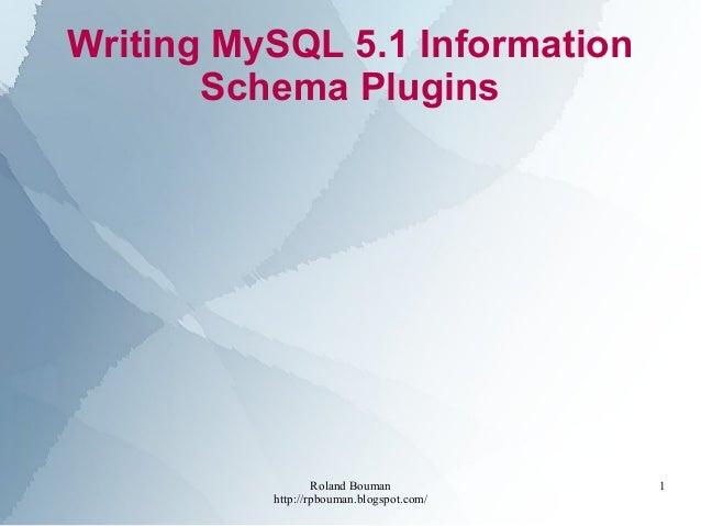 Roland Bouman http://rpbouman.blogspot.com/ 1 Writing MySQL 5.1 Information Schema Plugins
