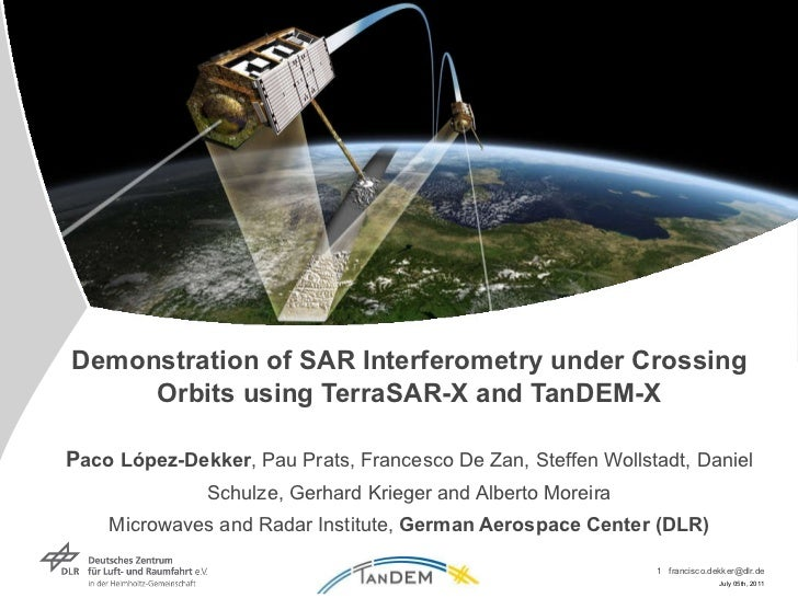 Demonstration of SAR Interferometry under Crossing Orbits using TerraSAR-X and TanDEM-X P aco López-Dekker , Pau Prats, Fr...