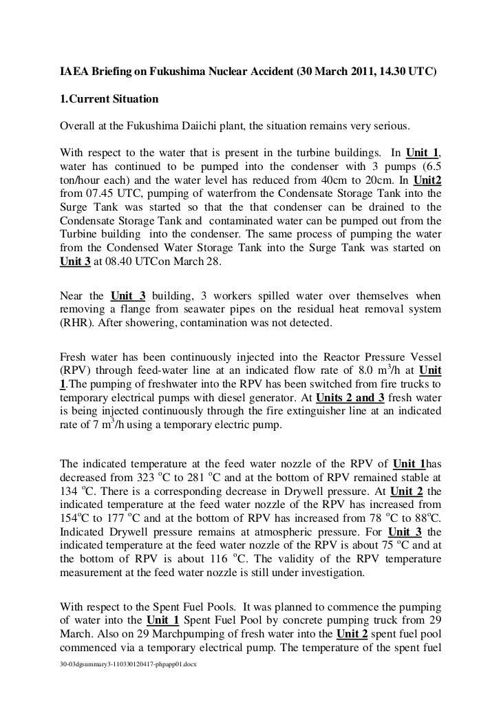 IAEA Briefing on Fukushima Nuclear Accident (30 March 2011,14.30 UTC)