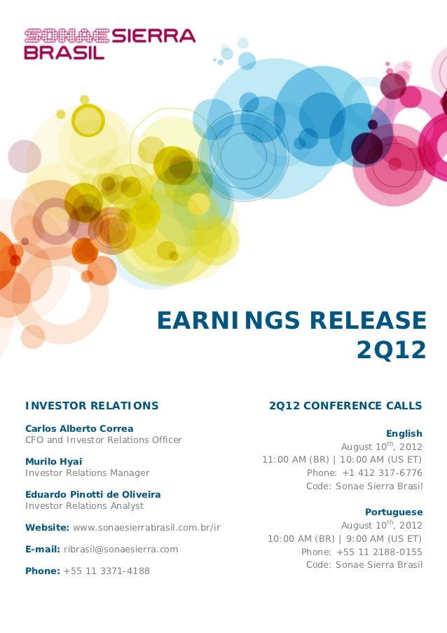 EARNINGS RELEASE                                         2Q12INVESTOR RELATIONS                          2Q12 CONFERENCE C...