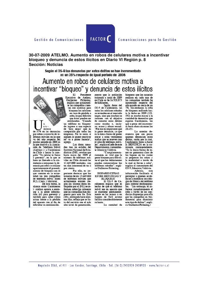 30-07-2009 ATELMO. Aumento en robos de celulares motiva a incentivar bloqueo y denuncia de estos ilícitos en Diario VI Reg...