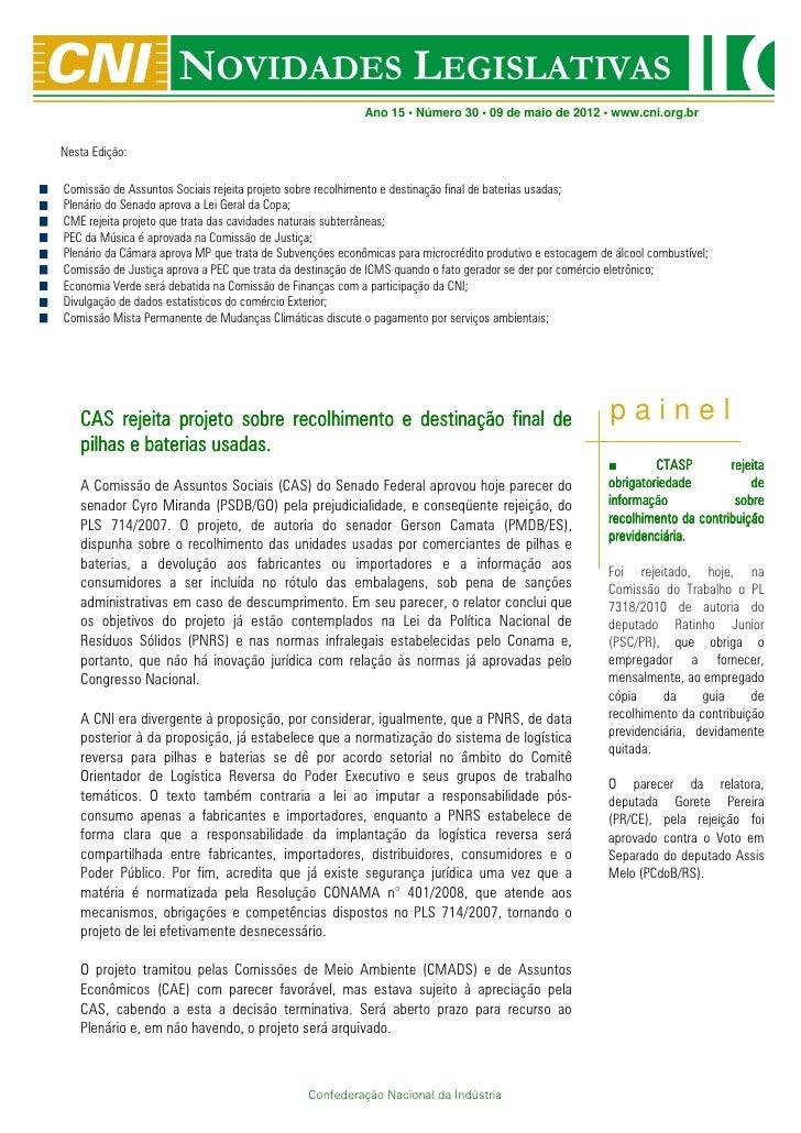 Novidades Legislativas Nº 30 | 09/05/2012