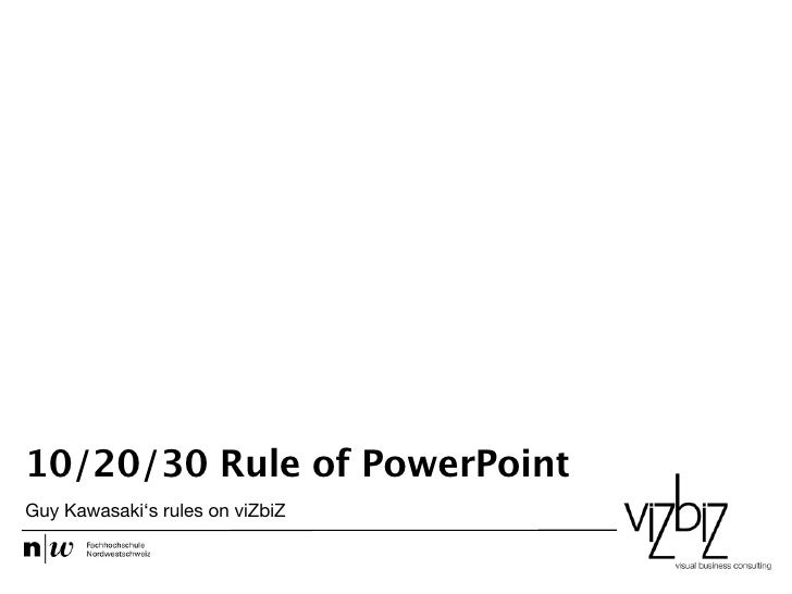 The 10/20/30 Rule of PowerPoint in practice