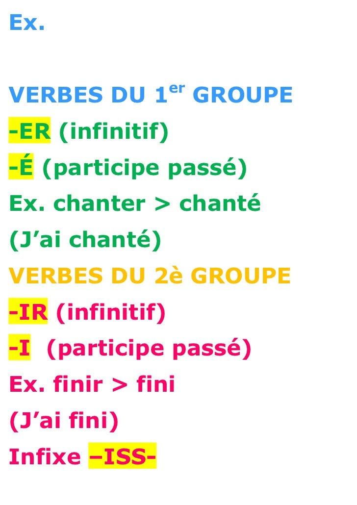 Ex.                  erVERBES DU 1            GROUPE-ER (infinitif)-É (participe passé)Ex. chanter > chanté(J'ai chanté)VE...