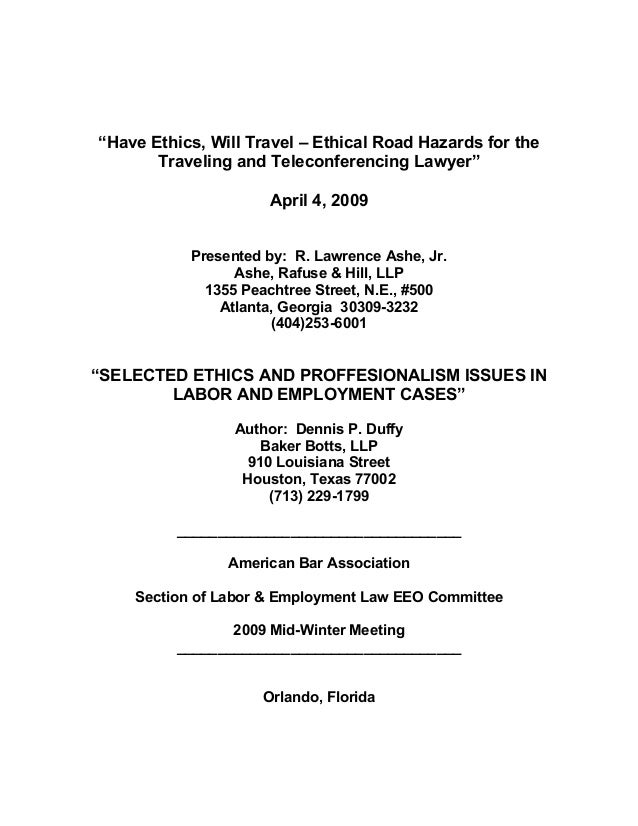 """Have Ethics, Will Travel – Ethical Road Hazards for the       Traveling and Teleconferencing Lawyer""                     ..."
