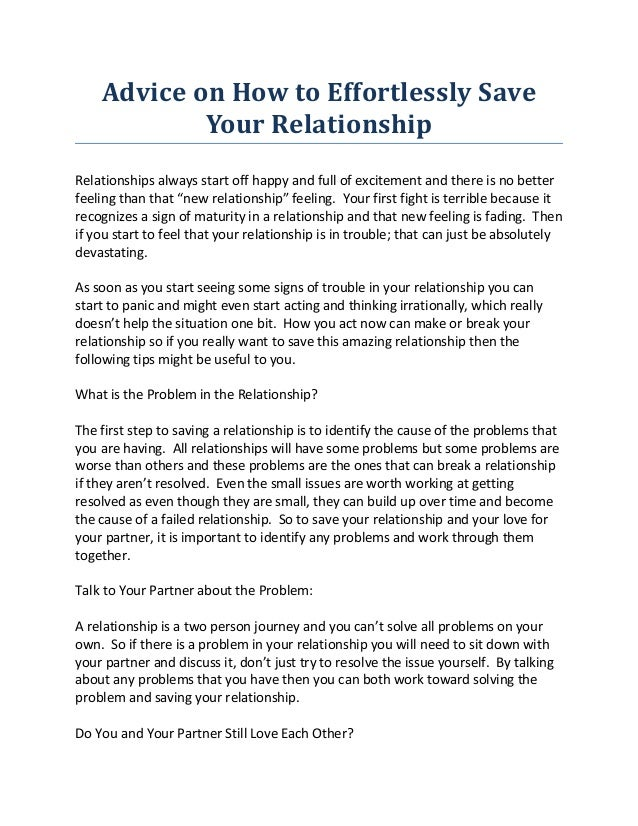 Advice on How to Effortlessly Save Your Relationship