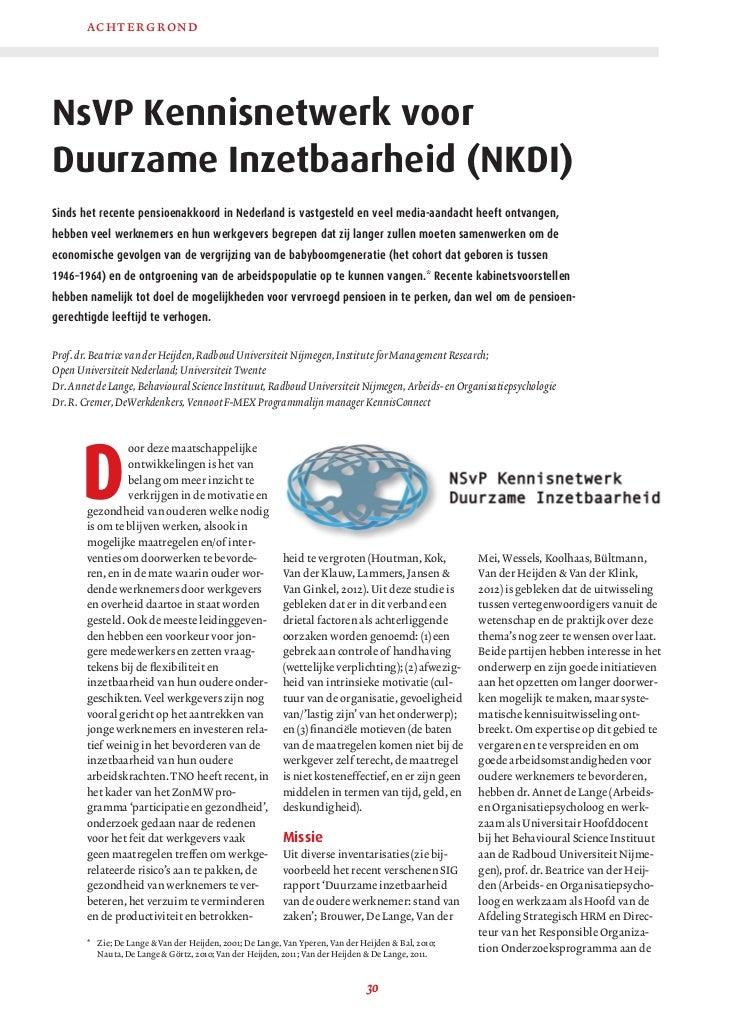 a cht e rgrond         NsVP Kennisnetwerk voor         Duurzame Inzetbaarheid (NKDI)         Sinds het recente pensioenakk...