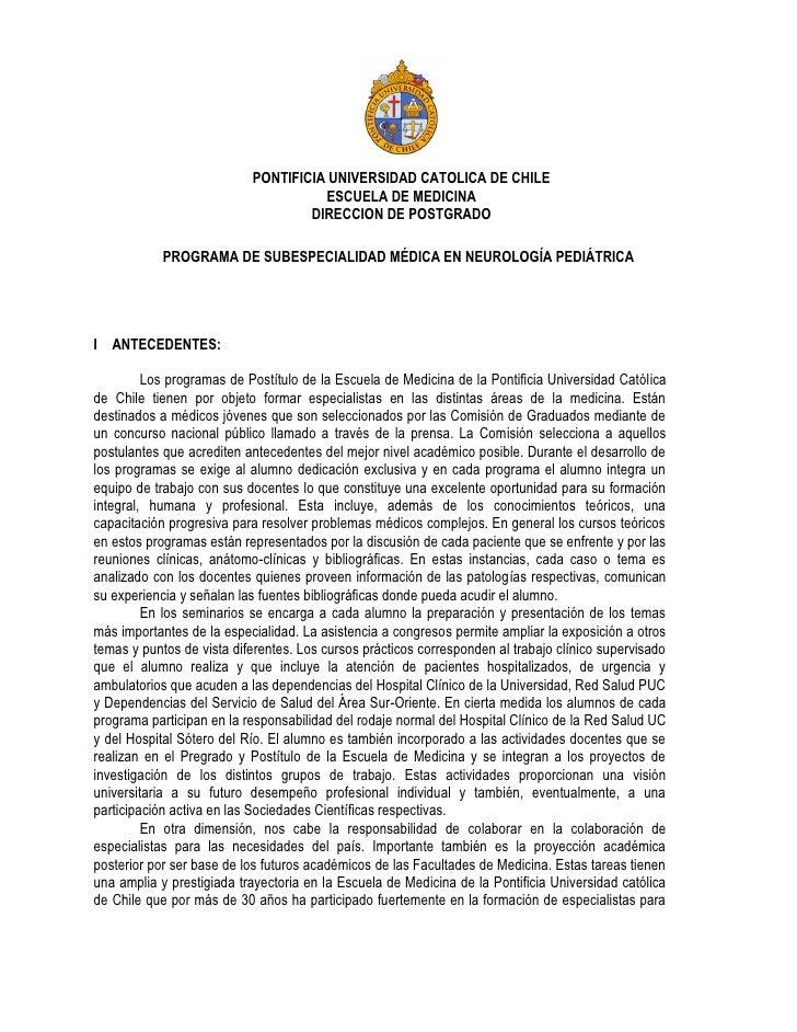 PONTIFICIA UNIVERSIDAD CATOLICA DE CHILE                                     ESCUELA DE MEDICINA                          ...