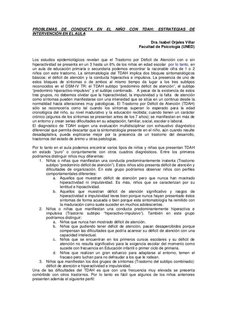 PROBLEMAS DE CONDUCTA                 EN    EL    NIÑO    CON     TDAH:    ESTRATEGIAS        DEINTERVENCIÓN EN EL AULA   ...