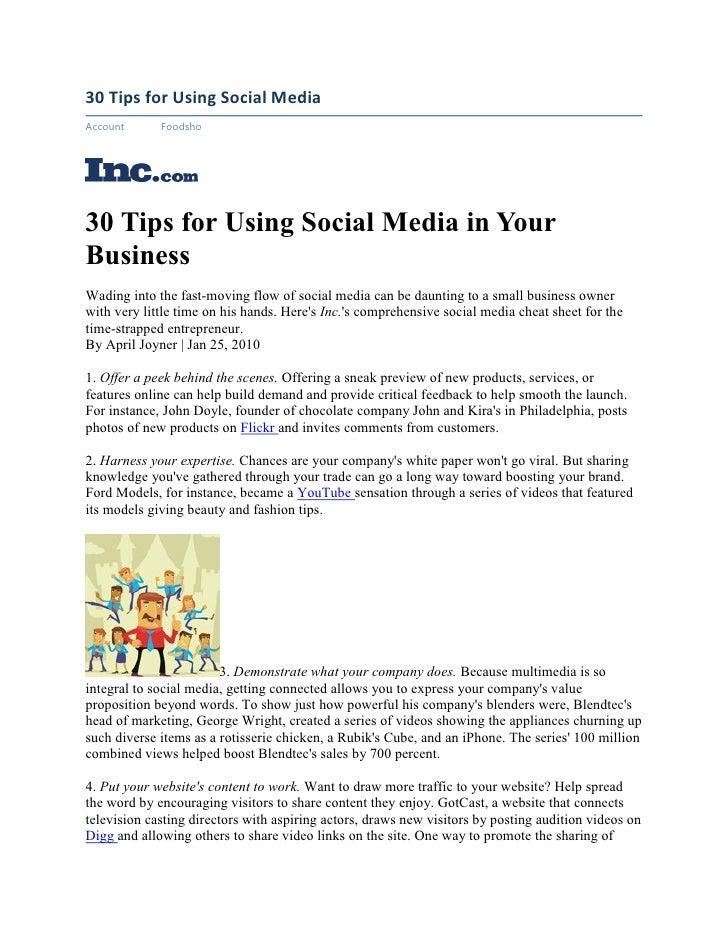 30  Tips For  Using  Social  Media