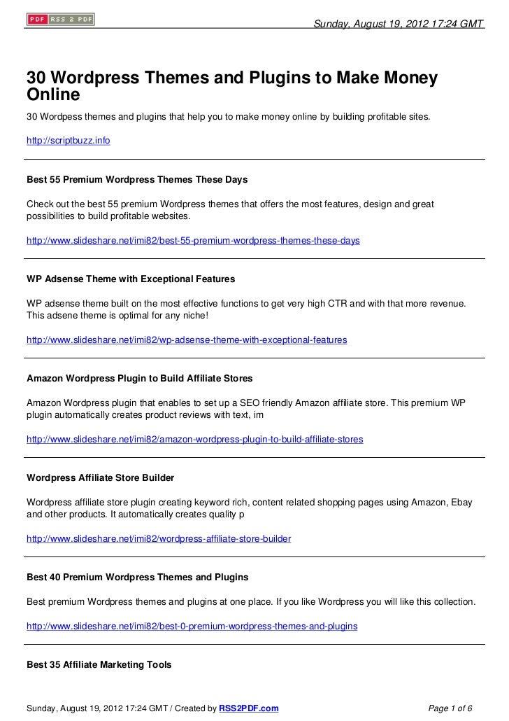 30 Wordpress Themes and Plugins to Make Money Online