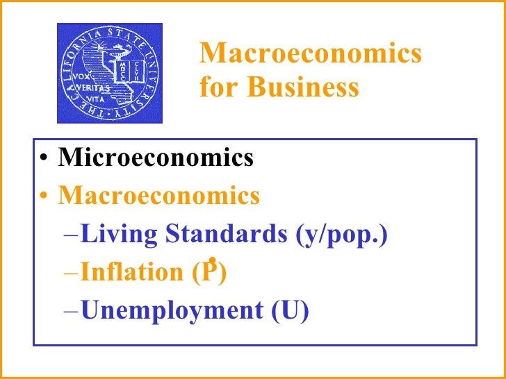 Macroeconomics  for Business <ul><li>Microeconomics  </li></ul><ul><li>Macroeconomics </li></ul><ul><ul><li>Living Standar...