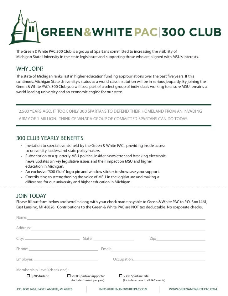 GREEN&WHITE PAC 300 CLUB    The Green & White PAC 300 Club is a group of Spartans committed to increasing the visibility o...