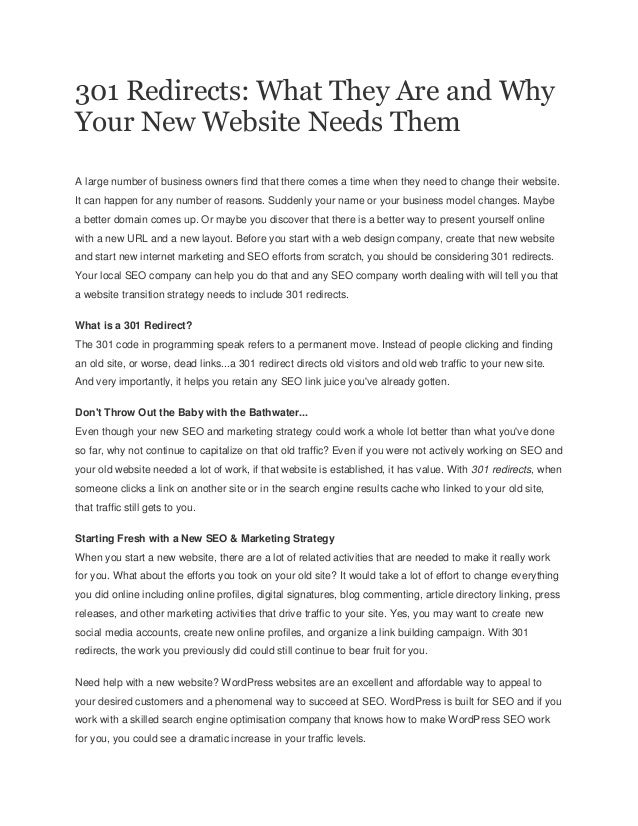 301 Redirects: What They Are and Why Your New Website Needs Them A large number of business owners find that there comes a...