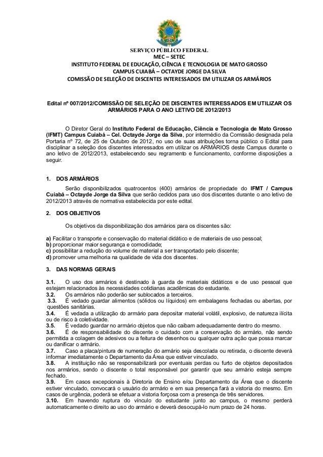 SERVIÇO PÚBLICO FEDERAL                                     MEC – SETEC         INSTITUTO FEDERAL DE EDUCAÇÃO, CIÊNCIA E T...