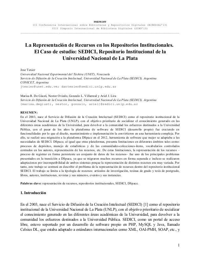 PREPRINT III Conferencia Internacional sobre Bibliotecas y Repositorios Digitales (BIREDIAL'13) VIII Simposio Internaciona...