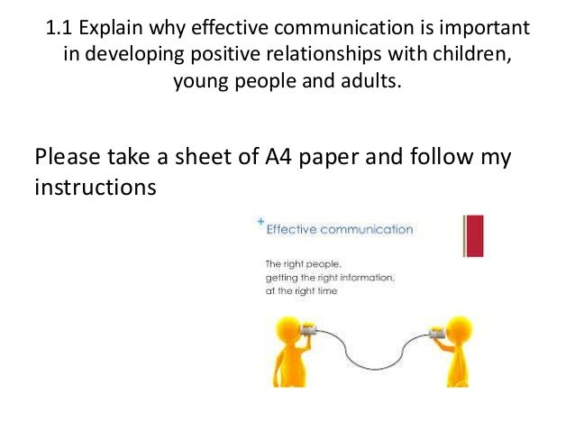 1 1 explain why effective communication is Tda 31 task 1: understand the principles of developing positive relationships with children, young people and adults 11 explain why effective communication is.