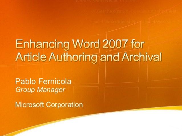 Pablo FernicolaGroup ManagerMicrosoft Corporation