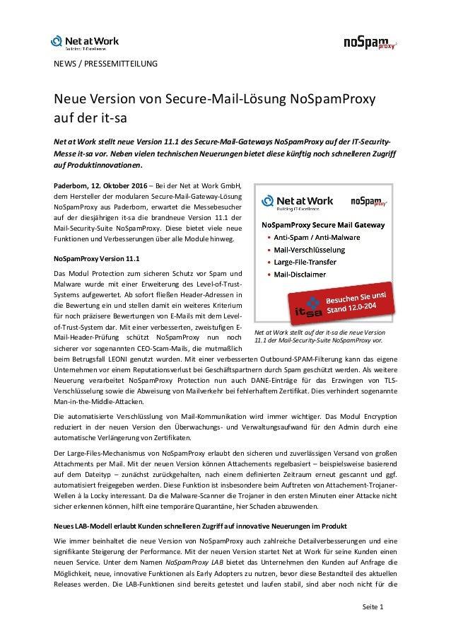 NEWS/PRESSEMITTEILUNG   Seite1 NeueVersionvonSecure-Mail-LösungNoSpamProxy aufderit-sa NetatWorkstelltn...